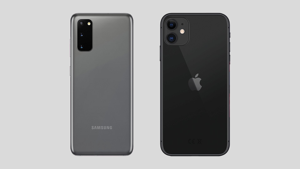 Rückseite Galaxy S20 vs. iPhone 11
