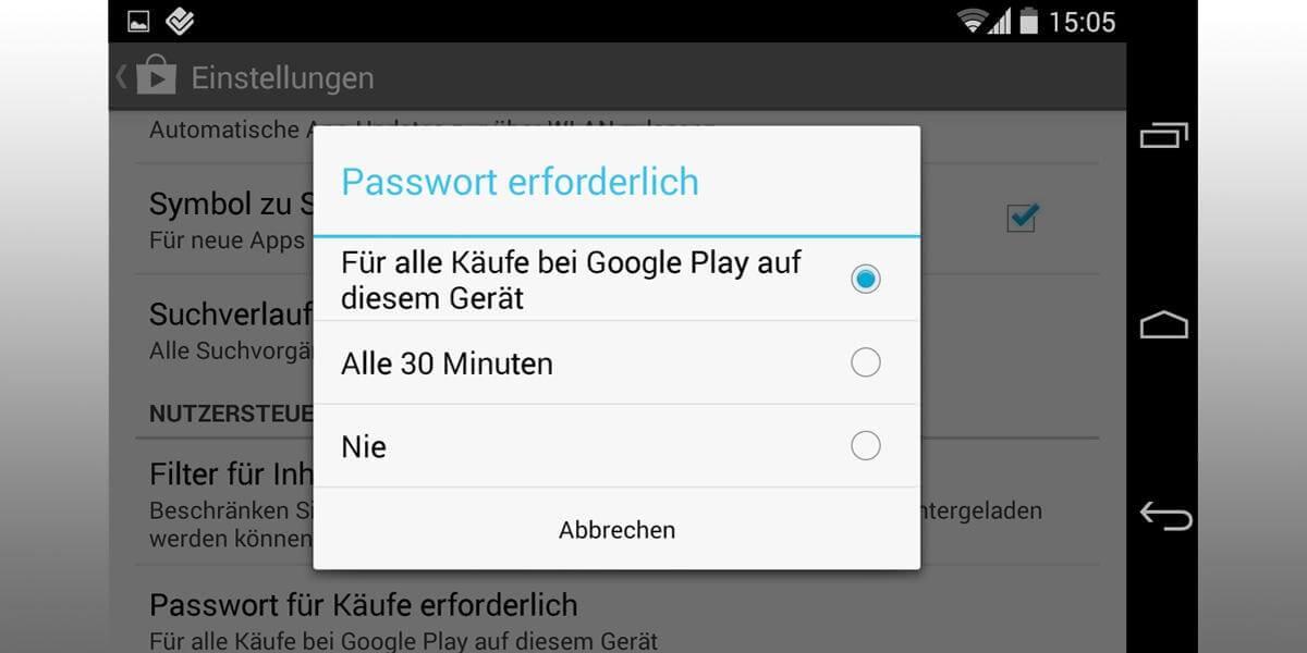 Einstellungen auf einem Android-Handy für In-App-Käufe