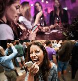 Menschen in der Öffentlichkeit am Handy