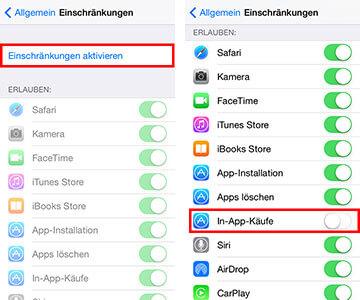 Einstellungen auf einem iPhone für In-App-Käufe